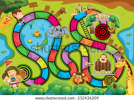 Board game with zoo theme - stock vector