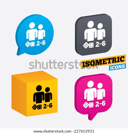 Board games sign icon. From two to six players symbol. Dice sign. Isometric speech bubbles and cube. Rotated icons with edges. Vector - stock vector