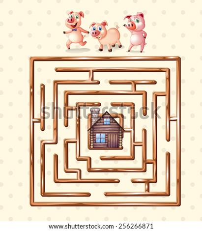 chinese checkers board template - boardgame template with pigs and hut stock vector