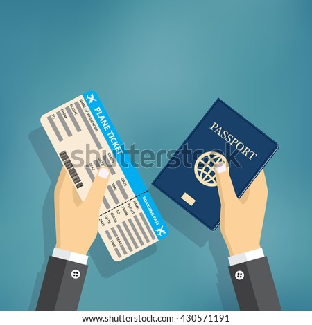 Boarding Pass and Passport in hands. travel concept. vector illustration in flat design, on blue background.