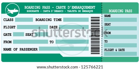 Boarding pass. Green and blue flight coupon. Vector illustration. - stock vector