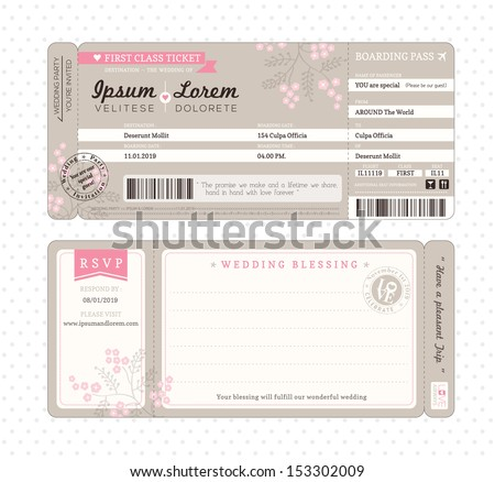 Boarding Pass Ticket Wedding Invitation Template - stock vector