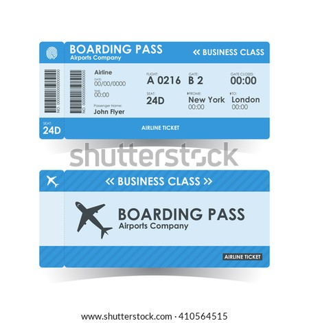 Boarding pass tickets blue design. vector illustration. - stock vector