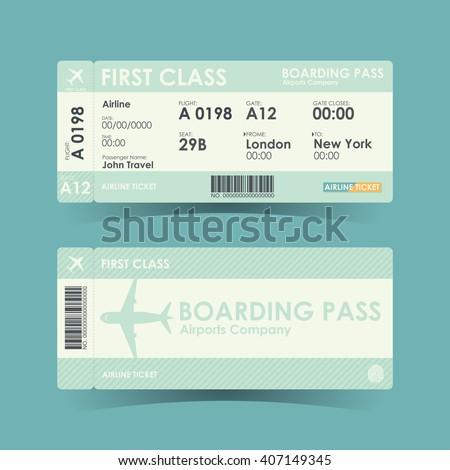 Boarding pass tickets green design. vector illustration. - stock vector
