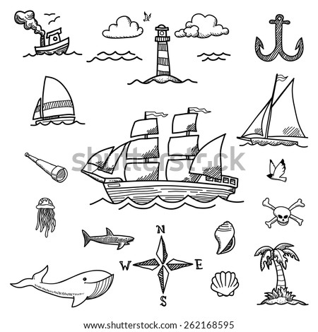 Boat and Sea Hand-drawn Doodles - stock vector