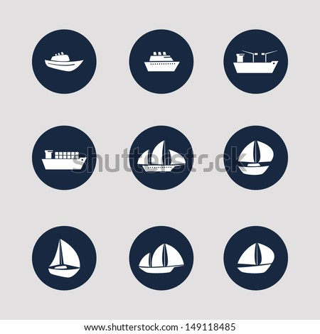 Boat and Ship Icons - stock vector