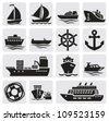 boat and ship icons set - stock photo