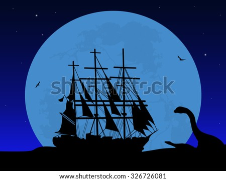 Boat floating on the ocean and dinosaur silhouette on beautiful night , vector illustration - stock vector