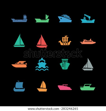 boat icon set - stock vector
