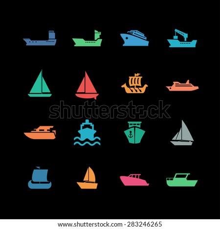 boat icon set - stock vector