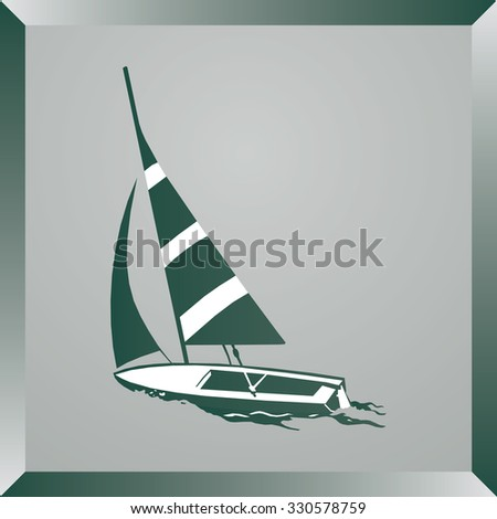 Boat icon, vector illustration. Flat design style - stock vector