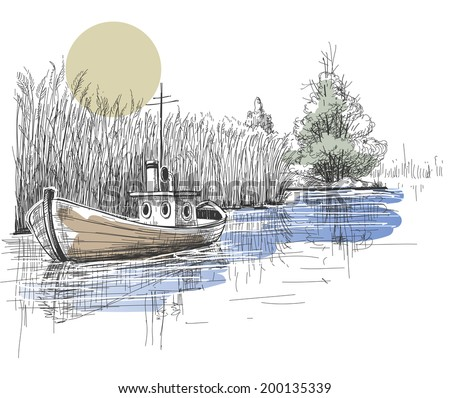 Boat on lake, river vector - stock vector