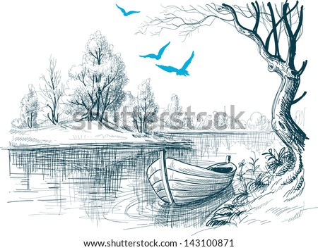 Boat on river / delta vector sketch - stock vector