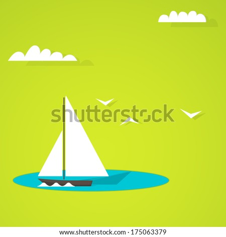 Boat on the lake - stock vector