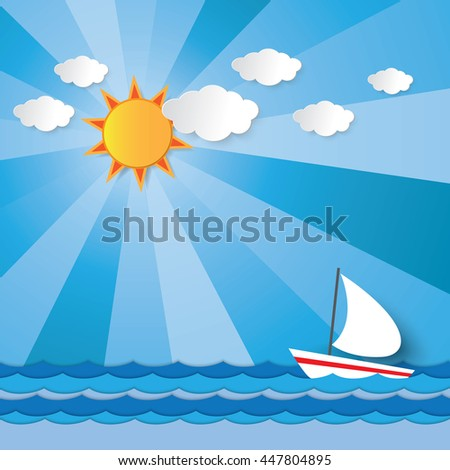 Boat sailing against the wave in the sea under the sun shining light beam in summer vector graphic design for background