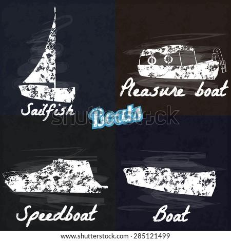 Boat, sailing, speed boat, pleasure boat, drawn in chalk on a blackboard, vector illustration - stock vector