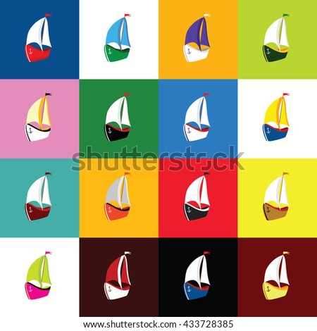 boat set icon illustration in colorful - stock vector