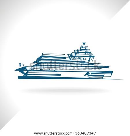 boat, ship - stock vector