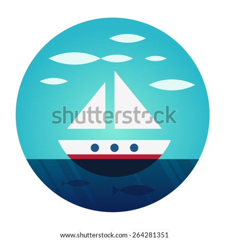 Boat to float freely. Icon for yacht clubs and yacht lovers. Flat vector illustration. Illustration location in a circular clipping mask. - stock vector