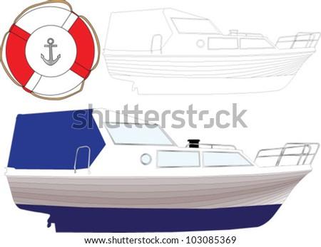 boat - vector - stock vector