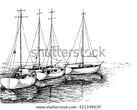Boats on sea artistic drawing - stock vector