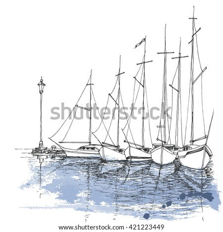 Boats on water, harbor sketch, transportation background - stock vector