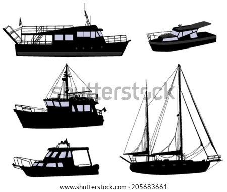 boats silhouettes - stock vector