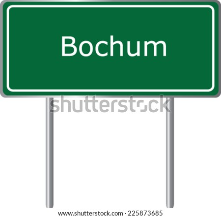 Bochum, Germany, road sign green vector illustration, road table - stock vector