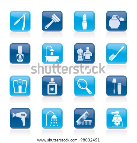 body care and cosmetics icons - vector icon set - stock vector