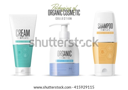 Body care products. Brand concept of organic cosmetics. Minimal design style. Tube cream, soap bottle, shampoo packing. Vector template. Realistic cosmetic packaging isolated on white background.