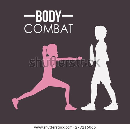 Body Combat design over grey background, vector illustration - stock vector