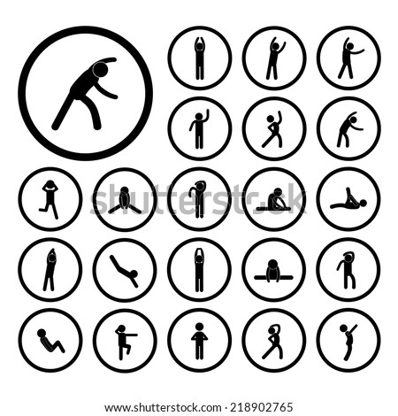 body exercise stick figure icon   - stock vector