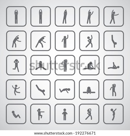 body exercise stick figure icon on gray background  - stock vector
