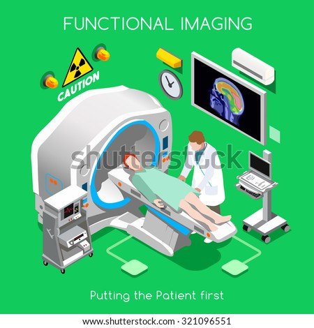 Body Scan. Clinic MRI Scan Tomography. Diagnostic Body Scan Imaging Hospital Department. Medical Doctor PET Body Scan. Healthcare Medicine 3D Flat Isometric People Medical Doctor Vector Image. - stock vector