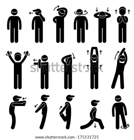 Body Stretching Exercise Stick Figure Pictogram Icon - stock vector