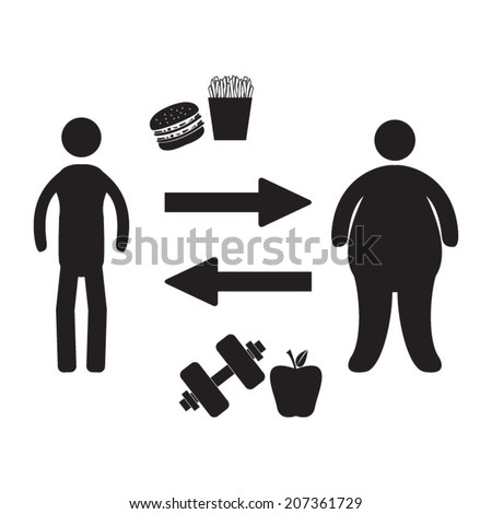 Body transformation - stock vector
