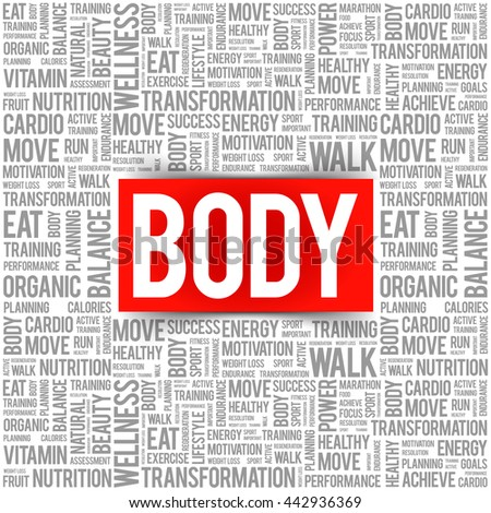 BODY word cloud background, health concept - stock vector