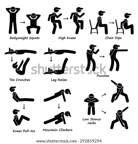 body workout exercise fitness training set stock vector