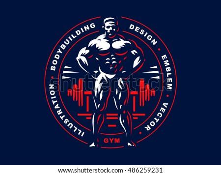 Bodybuilder Emblem Illustration On Dark Background