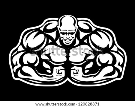 bodybuilder figure isolated on black - stock vector