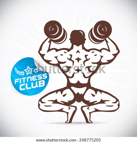 Bodybuilder Fitness Model Illustration, Sign, Symbol, Button, Badge, Icon, Logo for Family, Baby, Children, Teenager, People, Tattoo - stock vector