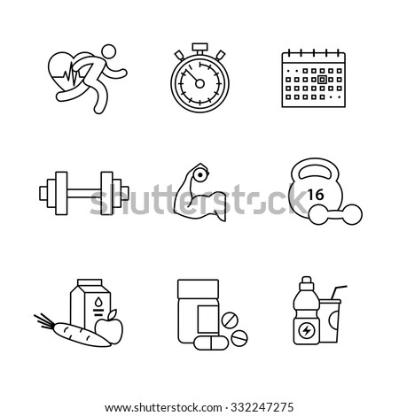 Bodybuilder, health, fitness and running thin line art icons set. Modern black symbols isolated on white for infographics or web use. - stock vector