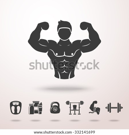 Bodybuilder icon with shadow, and set of icons - dumbbell, weight, bodybuilder, scales, gainer, shaker, measuring, barbell. Vector - stock vector