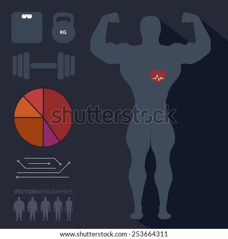 Bodybuilder, man, sports, fitness, infographics, vector - stock vector