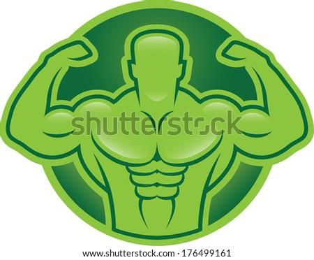 Bodybuilder model illustration - stock vector
