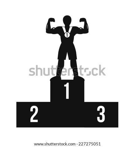 Bodybuilder on winner podium. Vector black icon - stock vector