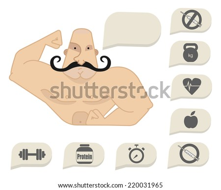 Bodybuilder torso with speech bubbles. Dumbbell, protein, timer, steroids, food, heart rate, kettlebell, stop steroids. Web site trainer. Mustached  - stock vector