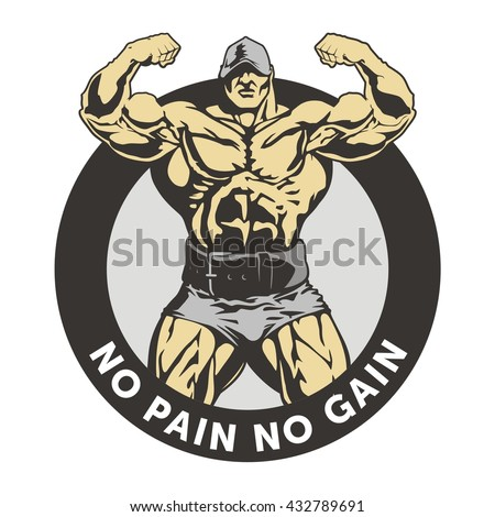 Bodybuilder vector image, front double biceps illustration, muscle man logo