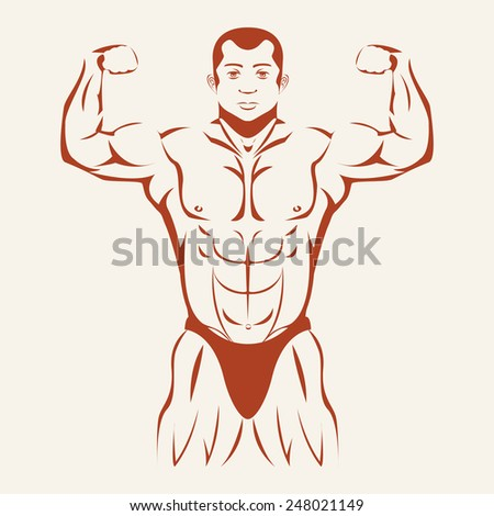 Bodybuilding and Powerlifting. Bodybuilder standing hands up, straining every muscle in the body. Vector illustration