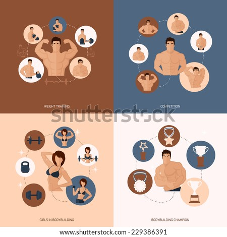 Bodybuilding fitness gym flat icons set with weight training competition girls champion isolated vector illustration - stock vector